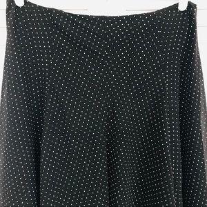Chaps Black Lined Polka Dot Skirt Size 10